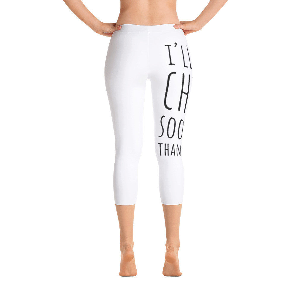 I'll Chia Sooner Than Later: White Ladies Capri Tight Leggings