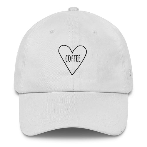 Love Coffee Heart: Classic Dad Cap Hat White
