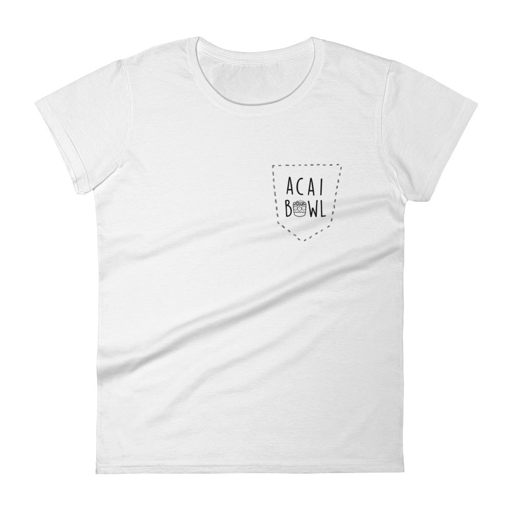 Acai Bowl Faux Pocket: White Ladies T-Shirt