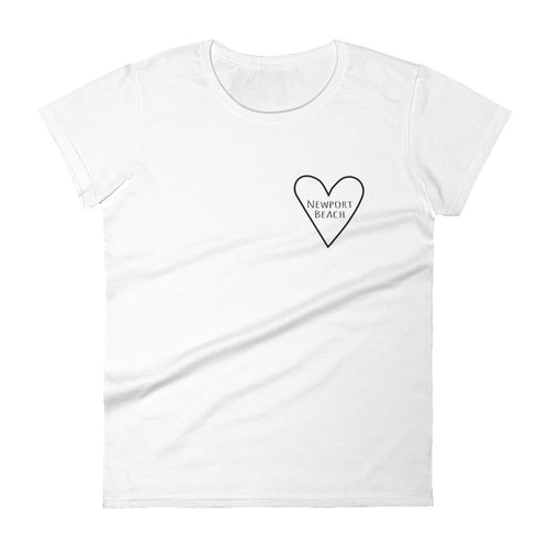 Love Newport Beach Heart Stronger Together: White Ladies T-Shirt COVID-19