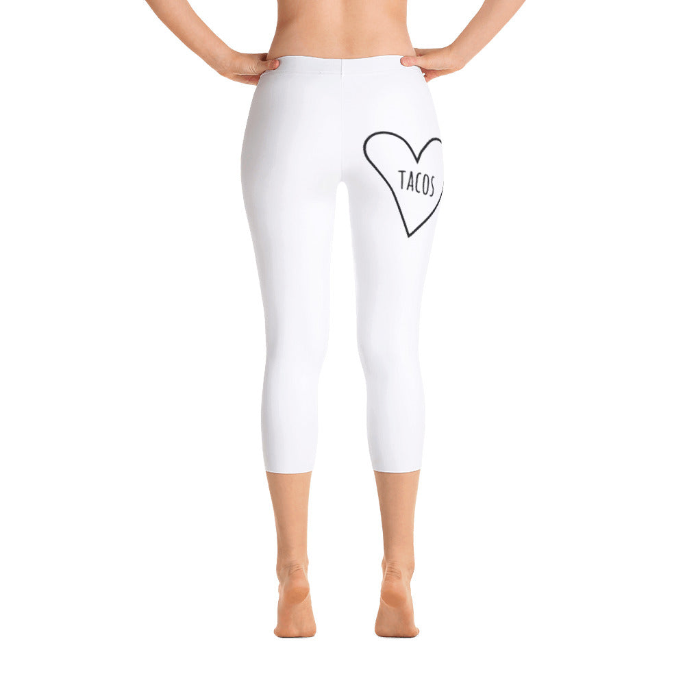 Love Tacos Heart: White Ladies Tight Capri Leggings