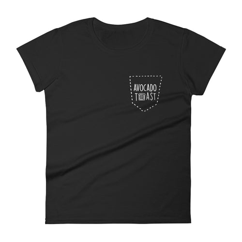 Avocado Toast Faux Pocket: Black Ladies T-Shirt