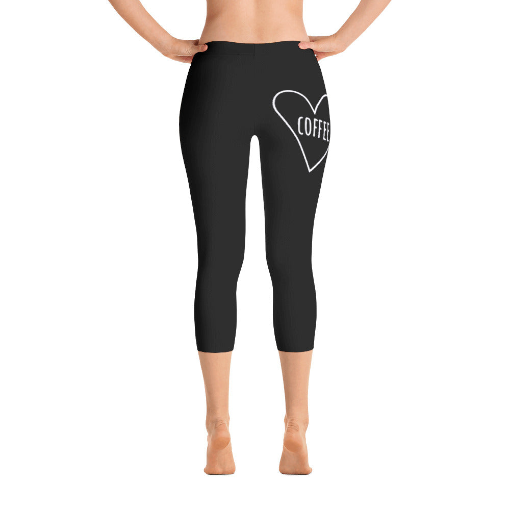 Love Coffee Heart: Black Ladies Tight Capri Leggings
