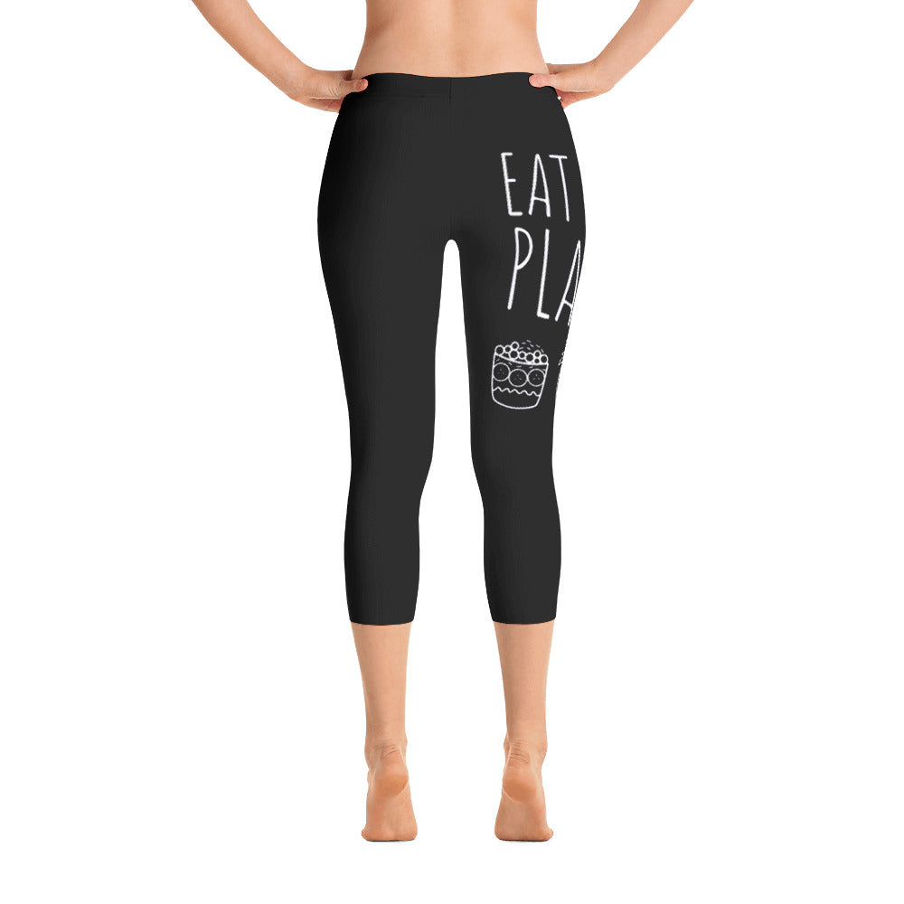 Eat More Plants - Acai, Pineapple, Toast: Black Ladies Tight Capri Leggings