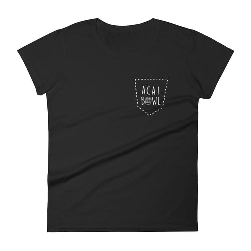 Acai Bowl Faux Pocket: Black Ladies T-Shirt