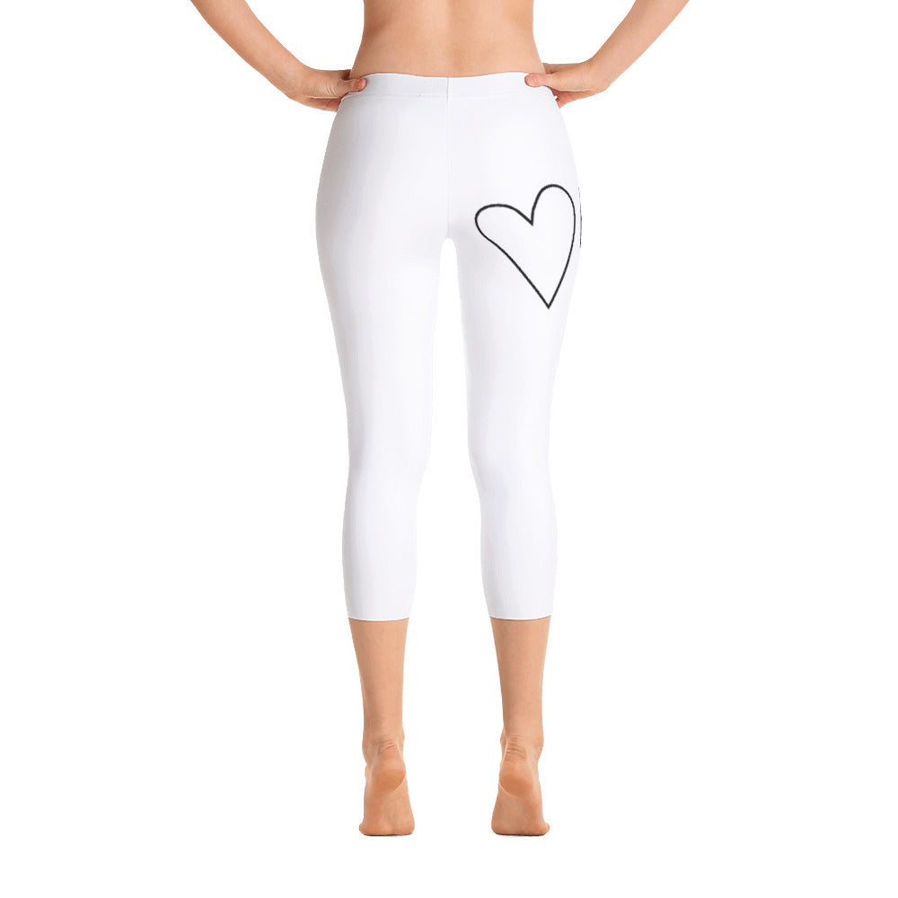 Plant Based Love Heart: White Ladies Tight Capri Leggings