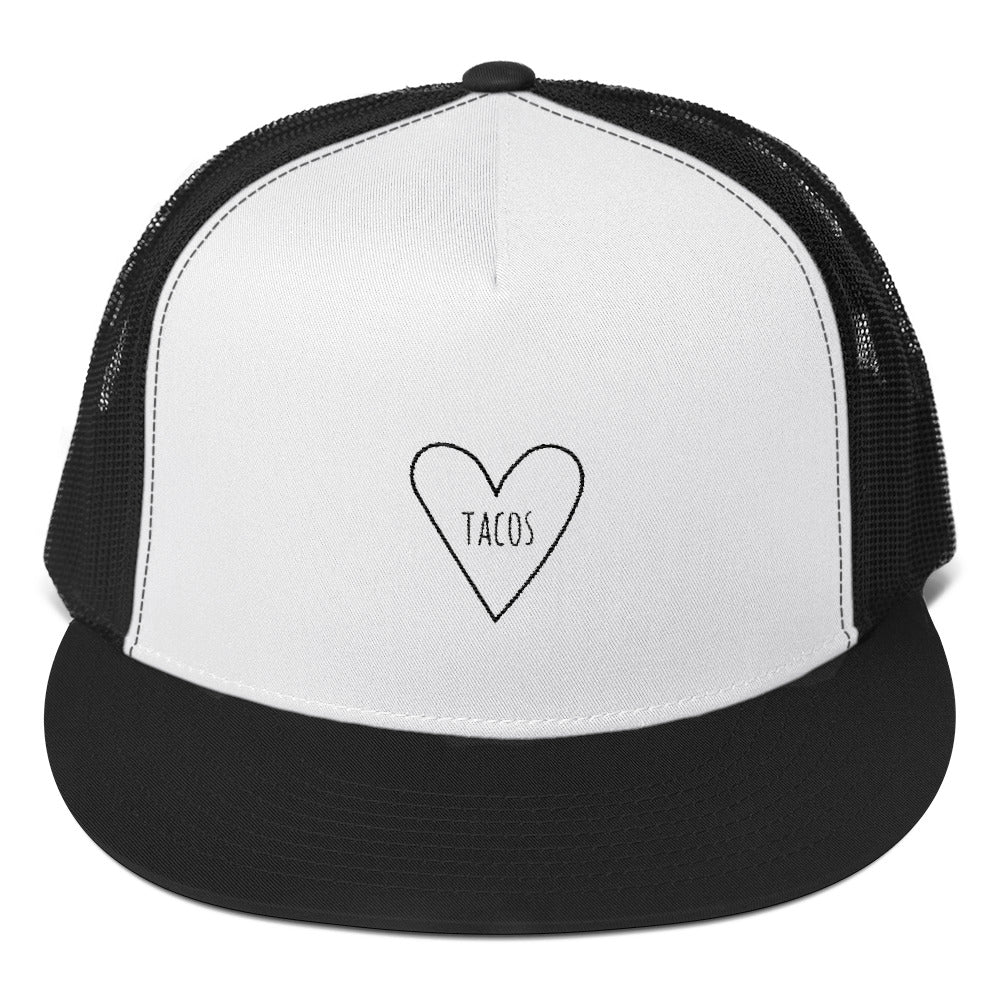 Love Tacos Heart: Five Panel Trucker Cap Hat