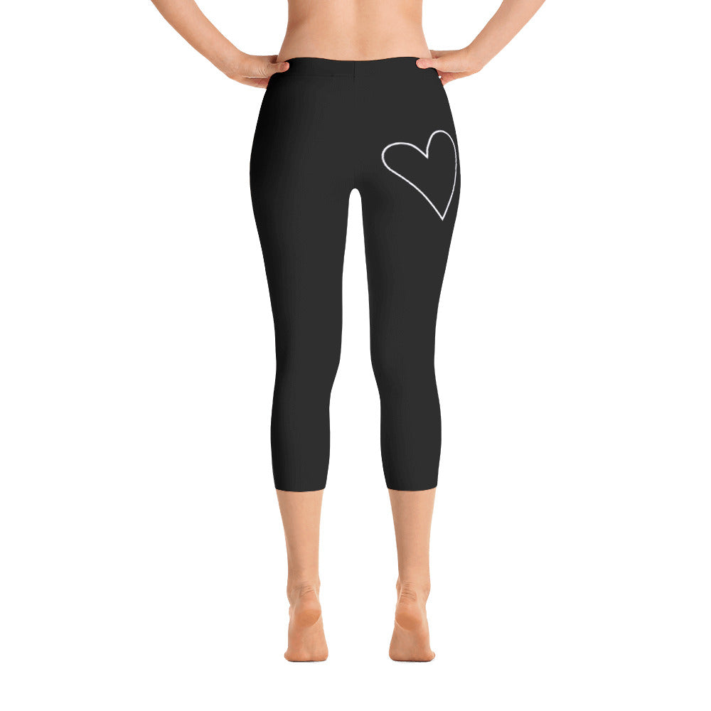 Plant Based Love Heart: Black Ladies Tight Capri Leggings