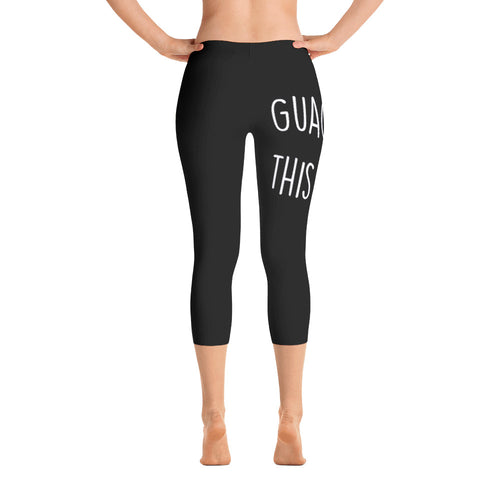 Guac This Way: Black Ladies Capri Tight Leggings