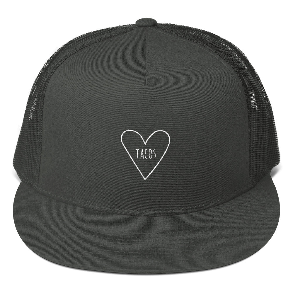 Love Tacos Heart: Mesh Snapback Trucker Cap Hat Black