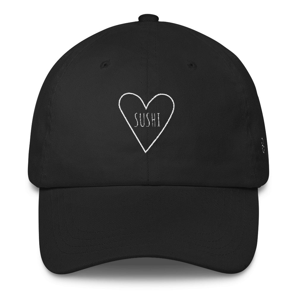 Love Sushi Heart: Classic Dad Cap Hat Black