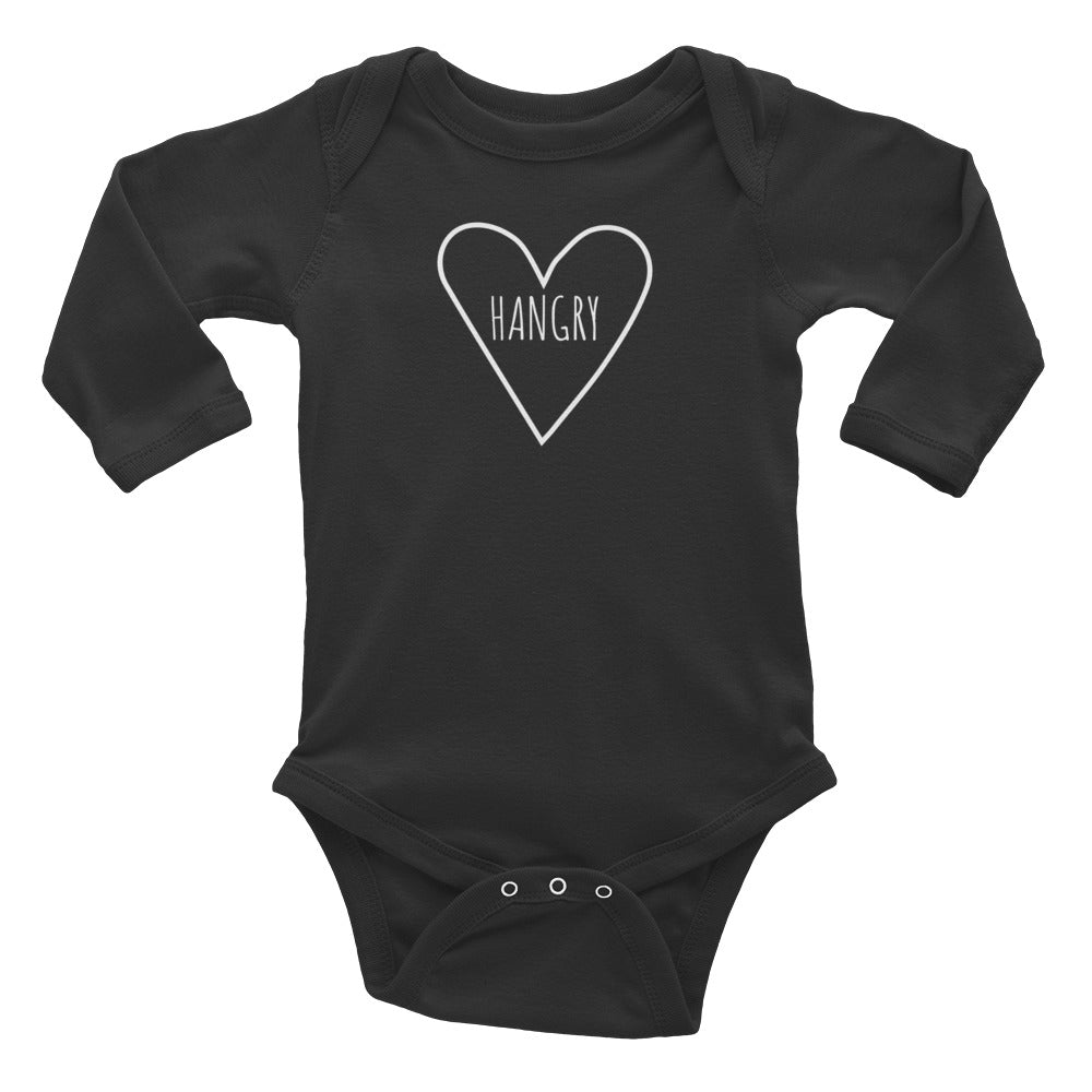 Love Hangry - Kids Infant Long Sleeve Bodysuit Black