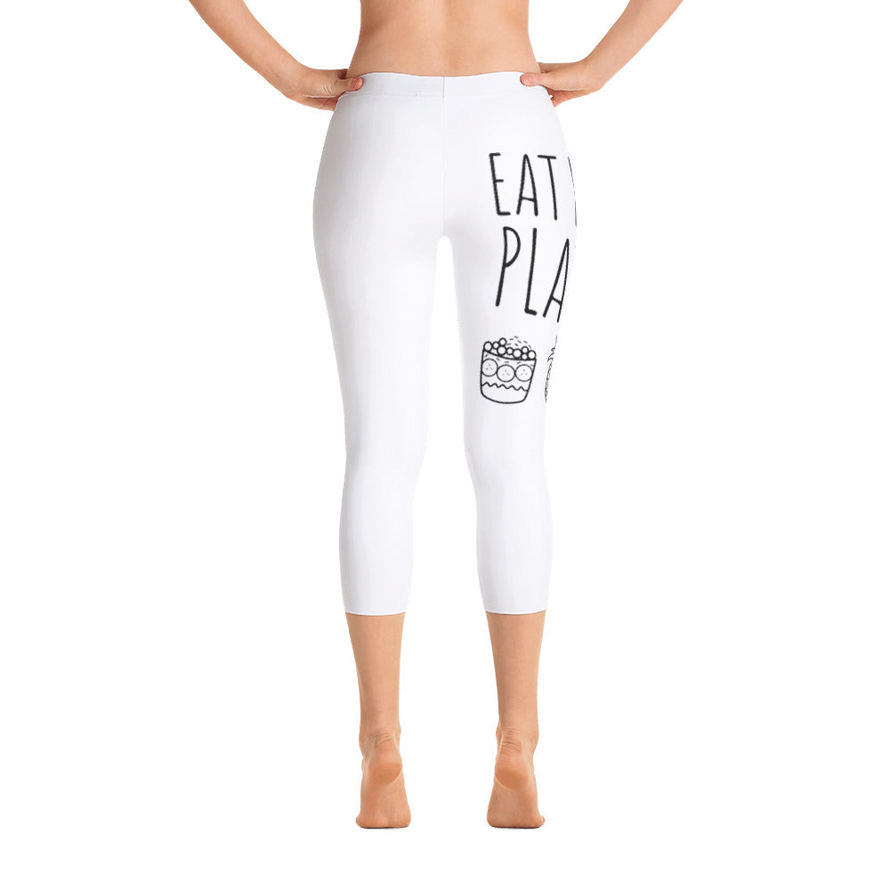 Eat More Plants - Acai, Pineapple, Toast: White Ladies Tight Capri Leggings