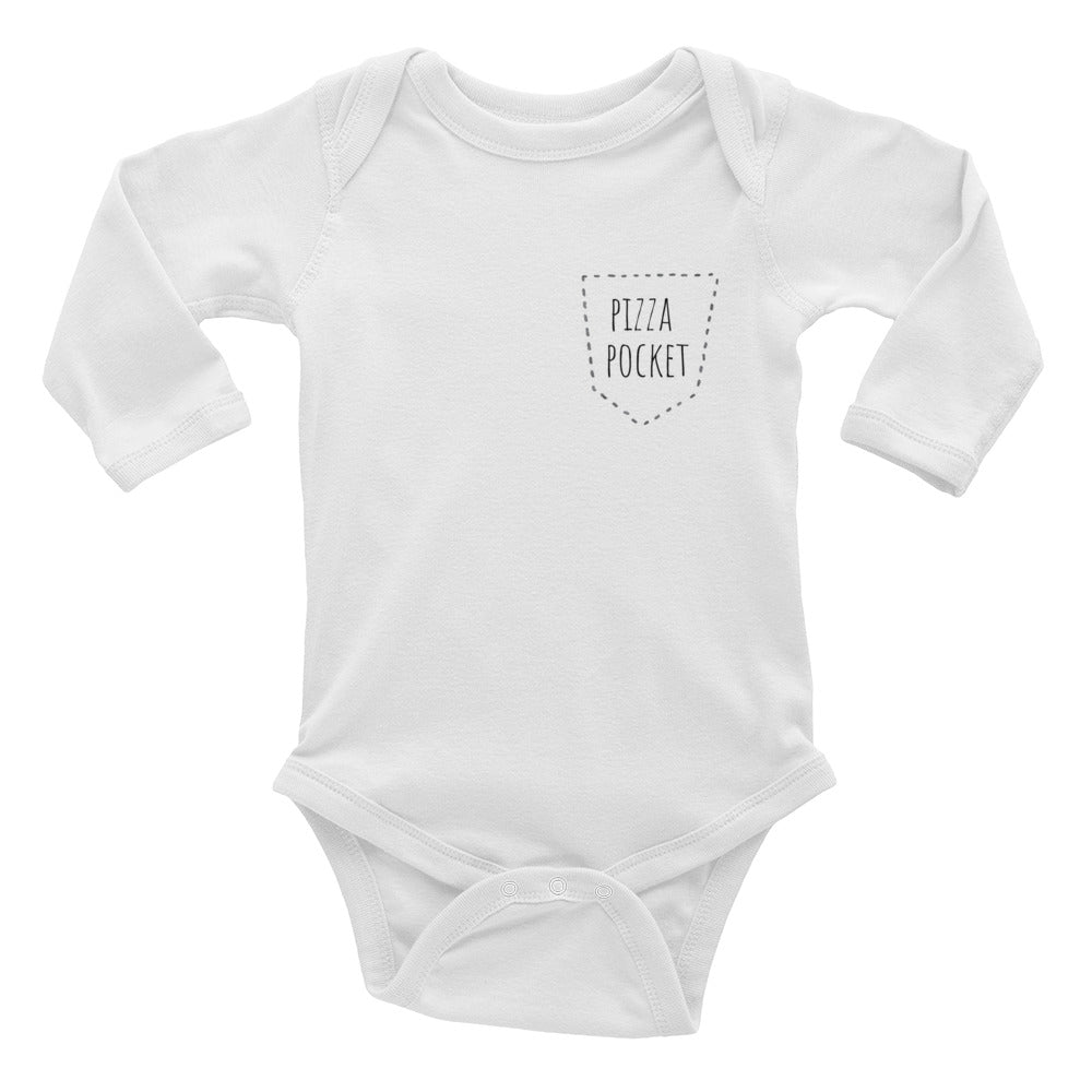 Pizza Pocket - Kids Infant Long Sleeve Bodysuit White