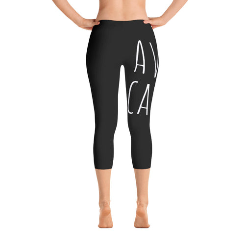 Avocado: Black Ladies Tight Capri Leggings