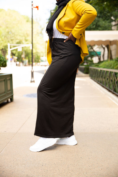 Basic Cotton Maxi Skirt-Black