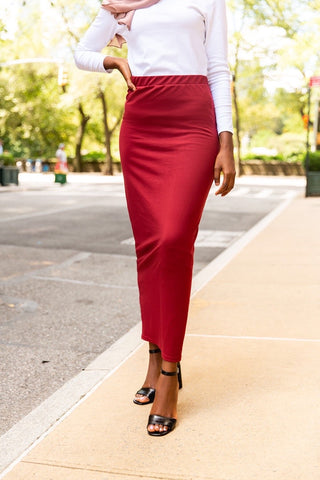 Basic Cotton Maxi Skirt- Burgundy