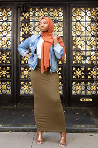 Basic Cotton Maxi Skirt-Olive Green