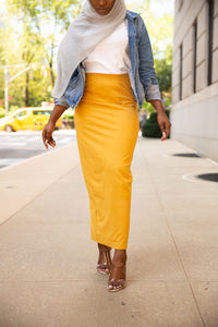 Basic Cotton Maxi Skirt- Mustard