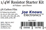 Resistor Starter Kit - 16 Values, 400 Pieces
