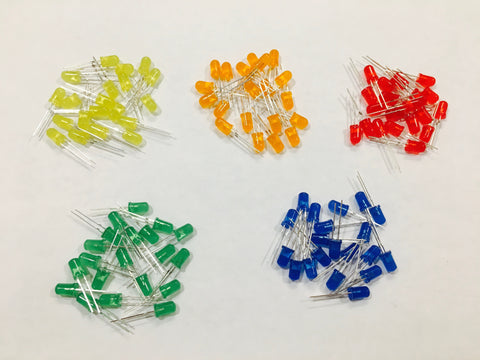 5mm Indicator LED Assortment  - 5 Colors, 100 Pieces