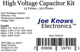 High Voltage Capacitor Kit - 13 Values, 370 Pieces