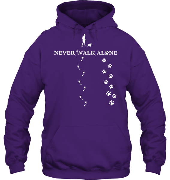 Never Walk Alone -  Tshirt - Gildan 8oz. Heavy Blend Hoodie / Purple / S - justpugstuff.com