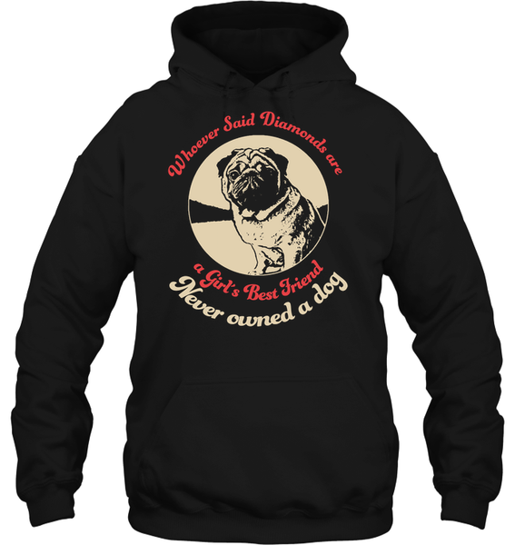Diamonds are A Girls Best Friend - Tshirt - Gildan 8oz. Heavy Blend Hoodie / Black / S - justpugstuff.com