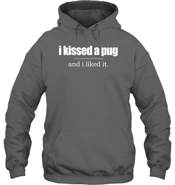 I Kissed a Pug and I Liked It - Tshirt - Gildan 8oz. Heavy Blend Hoodie / Graphite Heather / S - justpugstuff.com