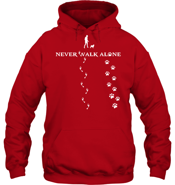 Never Walk Alone -  Tshirt - Gildan 8oz. Heavy Blend Hoodie / Red / S - justpugstuff.com