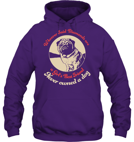 Diamonds are A Girls Best Friend - Tshirt - Gildan 8oz. Heavy Blend Hoodie / Purple / S - justpugstuff.com