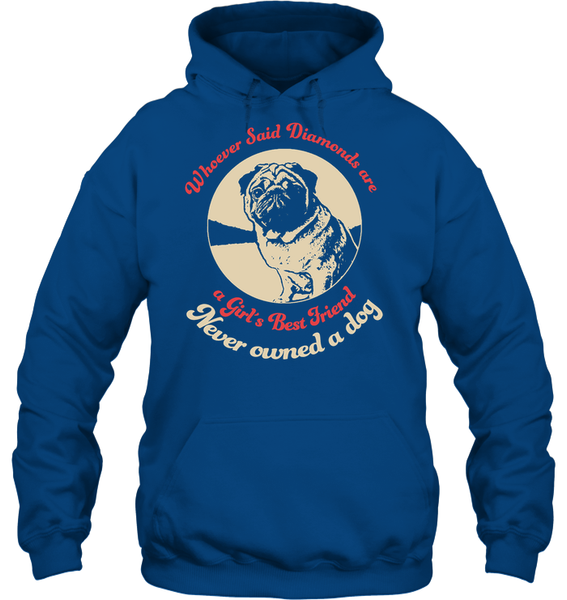 Diamonds are A Girls Best Friend - Tshirt - Gildan 8oz. Heavy Blend Hoodie / Royal / S - justpugstuff.com