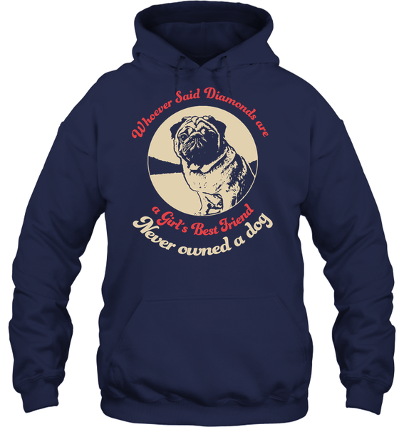 Diamonds are A Girls Best Friend - Tshirt - Gildan 8oz. Heavy Blend Hoodie / Navy / S - justpugstuff.com