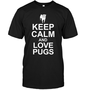 Keep Calm and Love Pugs - Tshirt - Hanes Tagless Tee / Black / S - justpugstuff.com