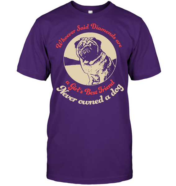 Diamonds are A Girls Best Friend - Tshirt - Hanes Tagless Tee / Purple / S - justpugstuff.com
