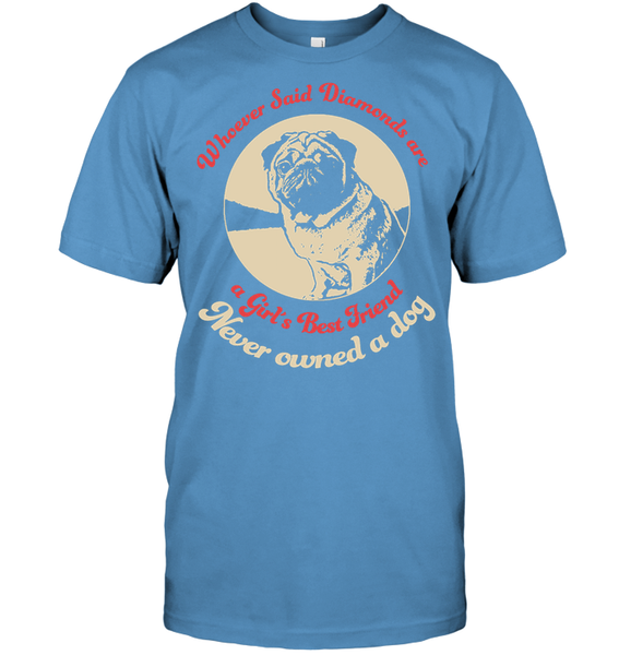 Diamonds are A Girls Best Friend - Tshirt - Hanes Tagless Tee / Carolina Blue / S - justpugstuff.com