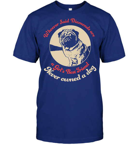 Diamonds are A Girls Best Friend - Tshirt - Hanes Tagless Tee / Deep Royal / S - justpugstuff.com
