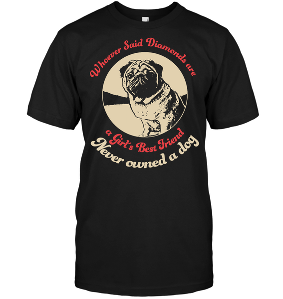 Diamonds are A Girls Best Friend - Tshirt - Hanes Tagless Tee / Black / S - justpugstuff.com
