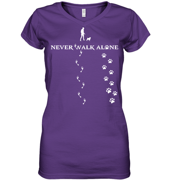 Never Walk Alone -  Tshirt - Hanes Women's Nano-T V-Neck / Purple / S - justpugstuff.com