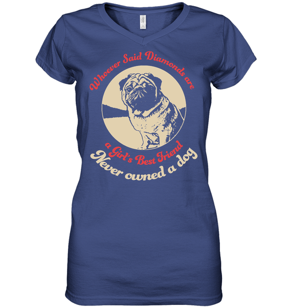 Diamonds are A Girls Best Friend - Tshirt - Hanes Women's Nano-T V-Neck / Deep Royal / S - justpugstuff.com