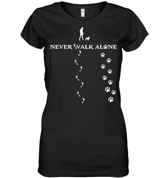 Never Walk Alone -  Tshirt - Hanes Women's Nano-T V-Neck / Black / S - justpugstuff.com