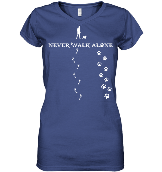 Never Walk Alone -  Tshirt - Hanes Women's Nano-T V-Neck / Deep Royal / S - justpugstuff.com