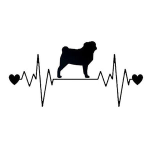 Pulse Pug Car Decal - Black - justpugstuff.com