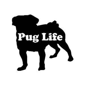 Pug Life Car Decal - Black - justpugstuff.com