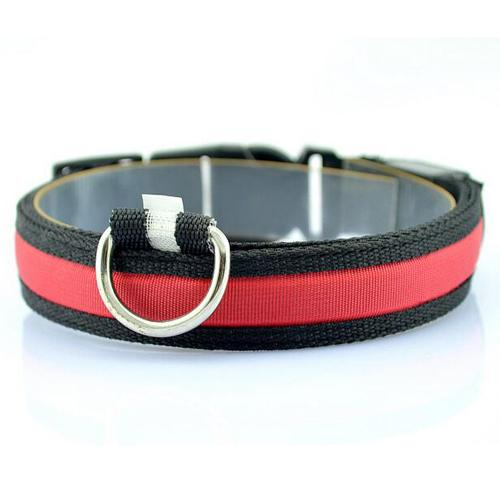 Glow-In-The-Dark LED Safety Collar - Red / S - justpugstuff.com