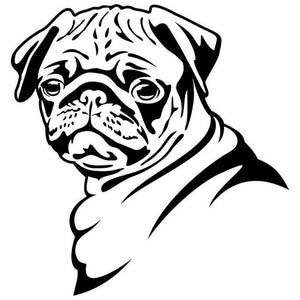 Pug Face Car Decal - Black - justpugstuff.com