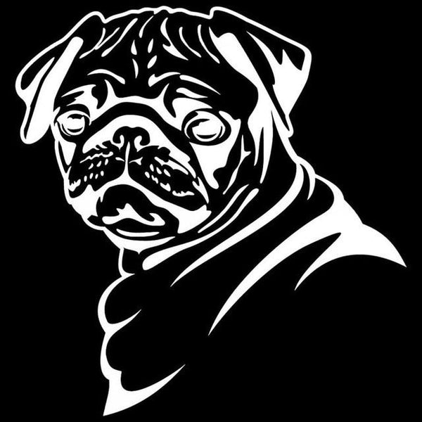 Pug Face Car Decal - Silver - justpugstuff.com