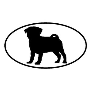 Pug Silhouette with Oval Car Decal - Black - justpugstuff.com