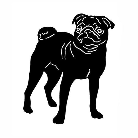 Front Facing Pug Car Decal - Black - justpugstuff.com