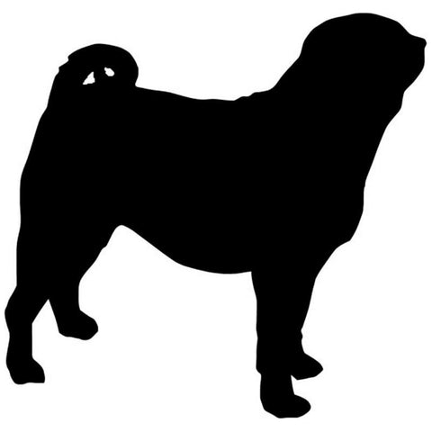 Side Silhouette Pug Car Decal -  - justpugstuff.com